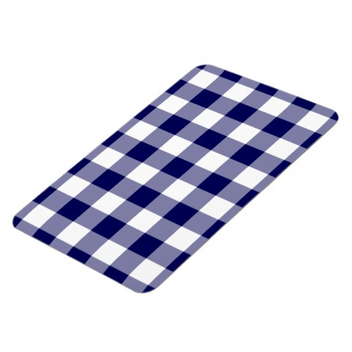 Navy and White Gingham Pattern Magnet