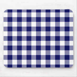 Navy and White Gingham Pattern Mouse Pad