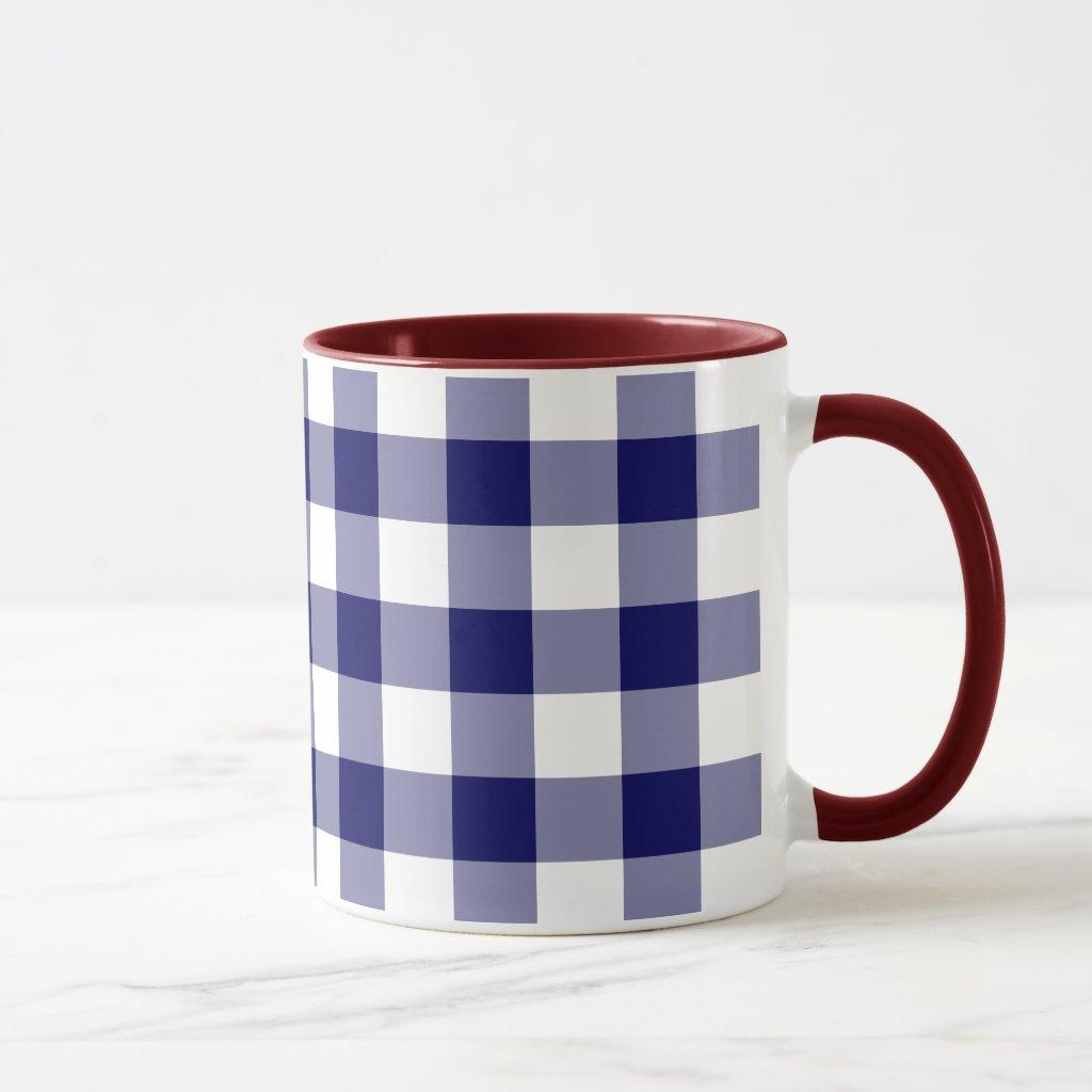 Navy and White Gingham Pattern Mug