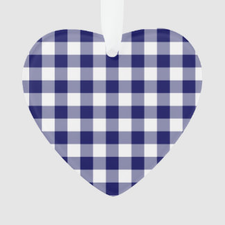 Navy and White Gingham Pattern Ornament