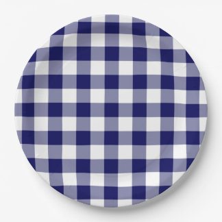 Navy and White Gingham Pattern Paper Plate