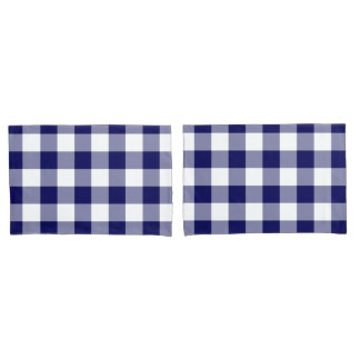 Navy and White Gingham Pattern Pillow Case