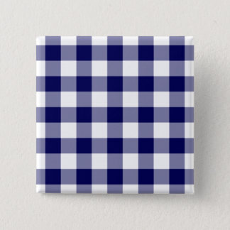 Navy and White Gingham Pattern Pinback Button