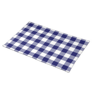 Navy and White Gingham Pattern Place Mats