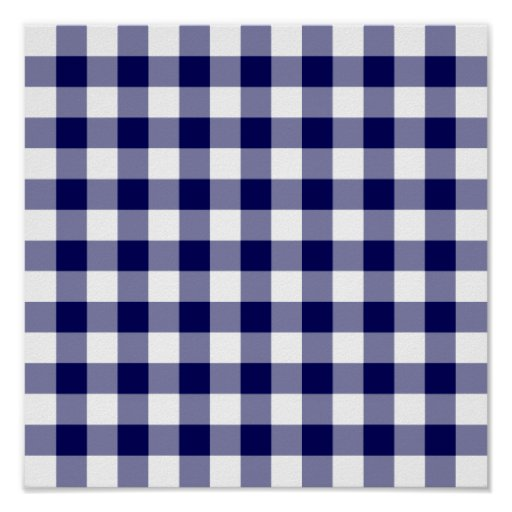 Navy and White Gingham Pattern Print