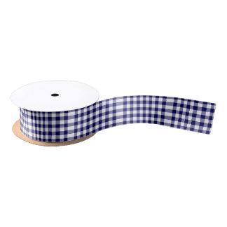 Navy and White Gingham Pattern Satin Ribbon