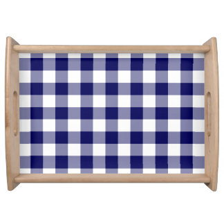 Navy and White Gingham Pattern Serving Tray