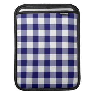 Navy and White Gingham Pattern Sleeves For iPads