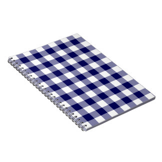 Navy and White Gingham Pattern Spiral Notebook