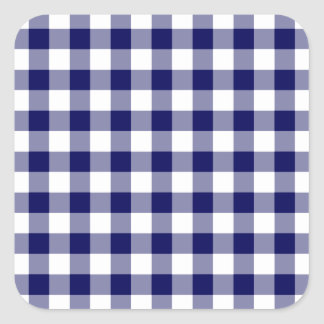 Navy and White Gingham Pattern Square Sticker