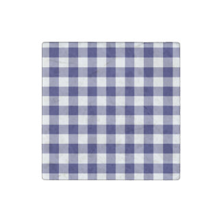 Navy and White Gingham Pattern Stone Magnet