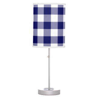 Navy and White Gingham Pattern Table Lamp