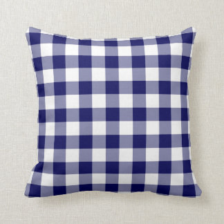 Navy and White Gingham Pattern Throw Pillow