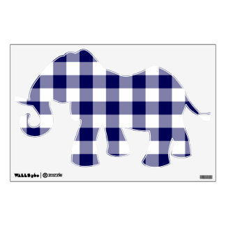 Navy and White Gingham Pattern Wall Sticker