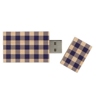 Navy and White Gingham Pattern Wood Flash Drive