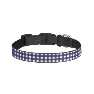 Navy and White Gingham Pet Collar