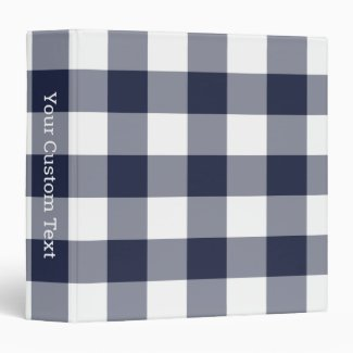 Navy and White Gingham Plaid Pattern Custom Title 3 Ring Binder