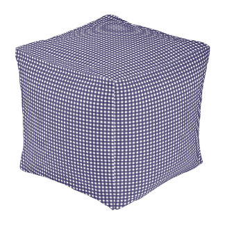 Navy and White Gingham Pouf