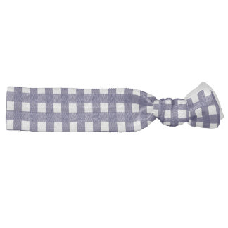 Navy and White Gingham Ribbon Hair Tie