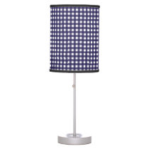 Navy and White Gingham Table Lamp