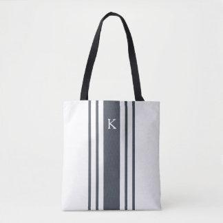 Navy and White Grainsack Stripe Monogram Tote Bag