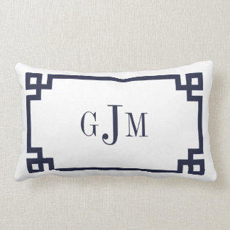 Navy and White Greek Key Monogram Lumbar Pillow