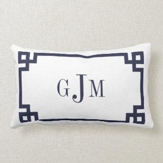 Navy and White Greek Key Monogram Pillows