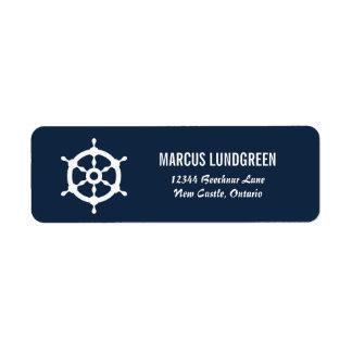 Navy and White Helm Nautical Return Address Label