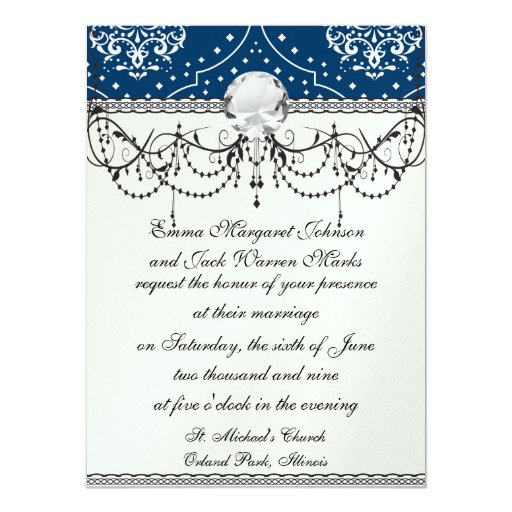 navy and white henna style damask 5.5x7.5 paper invitation card