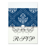 navy and white henna style damask 3.5x5 paper invitation card