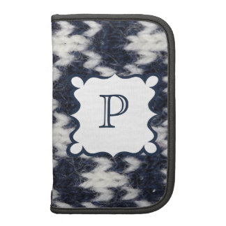 Navy and White Knit Customizable Folio Planner