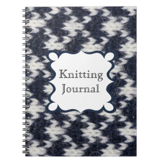 Navy and White Knitting Journal