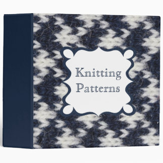 "Navy and White Knitting Patterns 2"" 3 Ring Binder"