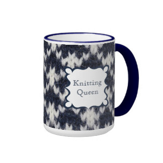 Navy and White Knitting Queen Ringer Coffee Mug