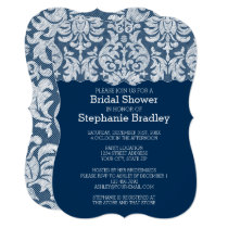 Navy and White Lace Damask Pattern Bridal Shower Invitation