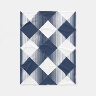 Navy and White Large-Scale Gingham Plaid Fleece Blanket