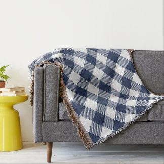 Navy and White Large-Scale Gingham Plaid Throw