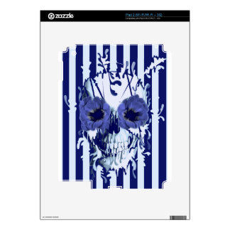 Navy and white limbo skull decal for iPad 2
