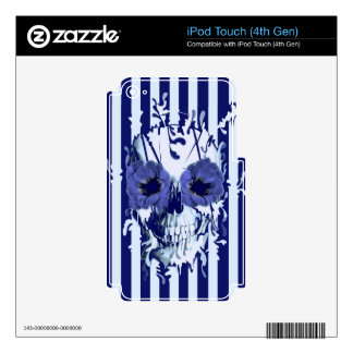 Navy and white limbo skull iPod touch 4G decals