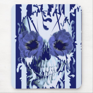 Navy and white limbo skull mouse pad