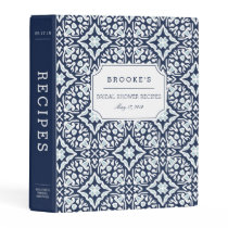 Navy and White Mediterranean Bridal Shower Recipe Mini Binder