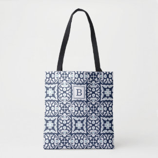 Navy and White Mediterranean Pattern Monogram Tote Bag
