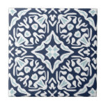 """Navy and White Mediterranean Pattern Tile<br><div class=""""desc"""">Accent your Mediterranean style decor with these ceramic tiles featuring an intricate geometric pattern in coastal navy blue,  sky blue and white inspired by the traditional azulejo tiles of Spain and Portugal.</div>"""