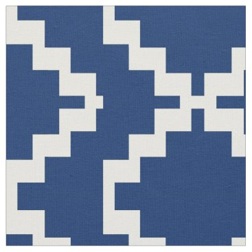 Aztec Themed Navy and White Mexica Fabric