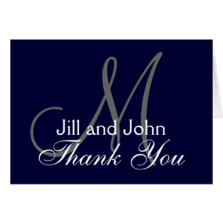 Navy and White Monogrammed Thank You Card