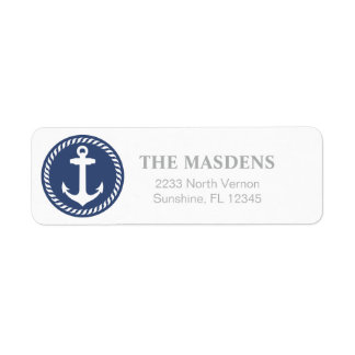 Navy and White Nautical Anchor Design Label