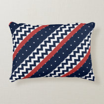 Navy and white nautical polka dots and chevron accent pillow
