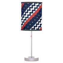 Navy and white nautical polka dots and chevron table lamp