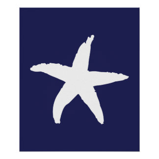 Navy and White Nautical Sea Star Poster