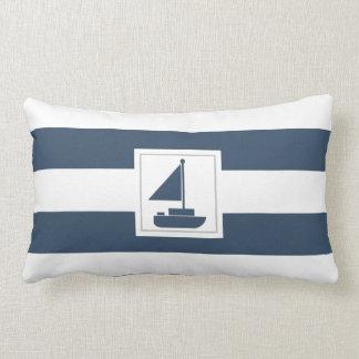 Navy and White Nautical Stripe with Sailboat Lumbar Pillow